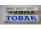Part No: crssprt02pb41c  Name: Brick 1 x 6 without Bottom Tubes with Cross Side Supports with Blue 'TOBAK' Serif Pattern