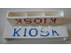Part No: crssprt02pb42b  Name: Brick 1 x 6 without Bottom Tubes with Cross Side Supports with Blue 'KIOSK' Serif Pattern