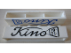 Part No: crssprt02pb43a  Name: Brick 1 x 6 without Bottom Tubes with Cross Side Supports with Black 'Kino' Script Pattern