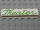 Part No: crssprt02pb44c  Name: Brick 1 x 6 without Bottom Tubes with Cross Side Supports with Green 'Theater' Script Pattern