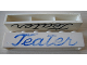Part No: crssprt02pb45b  Name: Brick 1 x 6 without Bottom Tubes with Cross Side Supports with Blue 'Teater' Script Pattern