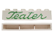 Part No: crssprt02pb45d  Name: Brick 1 x 6 without Bottom Tubes with Cross Side Supports with Green 'Teater' Script Pattern