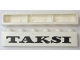 Part No: crssprt02pb88  Name: Brick 1 x 6 without Bottom Tubes with Cross Side Supports with Black 'TAKSI' Pattern