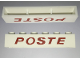 Part No: crssprt02pb90  Name: Brick 1 x 6 without Bottom Tubes with Cross Side Supports with Red 'POSTE' Thin Slanted Pattern