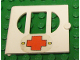 Part No: fabak3pb01  Name: Fabuland Door with Oval pane in 3 sections with Red Cross Pattern (Sticker) - Hospitals