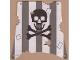 Part No: sailbb11  Name: Cloth Sail Square with Dark Gray Stripes, Skull and Crossbones Pattern, Damage Cutouts