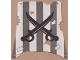 Part No: sailbb12  Name: Cloth Sail Square with Dark Gray Stripes, Crossed Cutlasses Pattern, Damage Cutouts