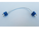 Part No: x466c15bluehol  Name: Electric, Wire 12V / 4.5V with two Blue 2-prong connectors, Hollow Pins, 15 Studs Long