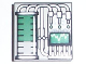 Part No: 3068bpb0019  Name: Tile 2 x 2 with Groove with Graduated Cylinder and Graph, Green Pattern