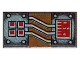 Part No: 3069bpa2  Name: Tile 1 x 2 with Groove with Copper and White Circuitry, Red Rectangle and 4 Squares Pattern