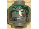 Part No: 3626bpb0107  Name: Minifigure, Head Alien with Green Hair, Copper Eyepiece and Headset Pattern - Blocked Open Stud