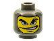 Part No: 3626bpb0166  Name: Minifigure, Head Balaclava with Face Hole, Right Eyebrow Arched, Mouth Open to Side Pattern - Blocked Open Stud
