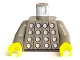 Part No: 973p45c01  Name: Torso Studded Armor Pattern (Castle, Soccer) without #1 on Back / Dark Gray Arms / Yellow Hands