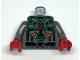 Part No: 973pb0046c01  Name: Torso Aquazone Stingray Dark Turquoise, Black, and Gold Pattern 3 / Dark Gray Arms / Red Hands