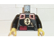 Part No: 973pb0273c01  Name: Torso Adventurers Orient Chinese Guard with Belt with Red Pocket and Knife Pattern / Black Arms / Yellow Hands