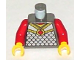 Part No: 973px117c02  Name: Torso Castle Knights Kingdom Scale Mail with Red Diamond Amulet Pattern / Red Arms / Yellow Hands
