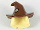 Part No: 20606pb03  Name: Minifigure, Hair Combo, Hair with Hat, Mid-Length Scraggly with Reddish Brown Floppy Witch Hat with Tan Patch Pattern