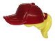 Part No: 35660pb05  Name: Minifigure, Hair Combo, Hair with Hat, Ponytail with Dark Red Ball Cap Pattern