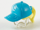 Part No: 35660pb07  Name: Minifigure, Hair Combo, Hair with Hat, Ponytail with Medium Azure Ball Cap and White Wave Logo Pattern
