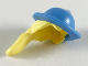 Part No: 65513pb01  Name: Minifigure, Hair Combo, Hair with Hat, Long Ponytail with Medium Blue Lopsided Hat and Brim Pattern