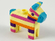 Part No: 66971pb01  Name: Minifigure, Piñata Horse with Medium Azure Ears, Nose and Tail, Dark Pink, Orange and Dark Purple Stripes Pattern