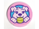 Part No: 14769pb308  Name: Tile, Round 2 x 2 with Bottom Stud Holder with Puppy Dog Holding Ball in Mouth Pattern