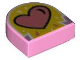 Part No: 24246pb004  Name: Tile, Modified 1 x 1 Half Circle Extended (Stadium) with Coral Heart on Yellow Background Pattern