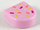 Part No: 24246pb011  Name: Tile, Round 1 x 1 Half Circle Extended (Stadium) with Coral, Light Aqua, Magenta and Yellow Sprinkles Pattern