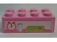 Part No: 3001pb116  Name: Brick 2 x 4 with Alarm Clock, Glass and Book Pattern (Sticker) - Set 7586