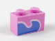 Part No: 3004pb179  Name: Brick 1 x 2 with Bright Light Blue Wave with White Outline Pattern (Unikitty Tail)