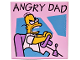 Part No: 3068bpb0920  Name: Tile 2 x 2 with Groove with 'ANGRY DAD' Pattern