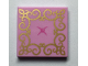 Part No: 3068bpb1202  Name: Tile 2 x 2 with Groove with Gold Lace and Bright Pink Button Pattern (Cushion)