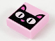 Part No: 3070bpb141  Name: Tile 1 x 1 with Groove with Black Cat Face with White Eyes and Dark Pink Ears and Nose Pattern