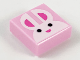Part No: 3070bpb142  Name: Tile 1 x 1 with Groove with White Bunny Rabbit Face with Black Eyes and Dark Pink Ears and Nose Pattern