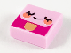 Part No: 3070bpb203  Name: Tile 1 x 1 with Groove with Emoji Face, Eyes Closed and Coral Cheeks Pattern