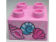 Part No: 3437pb044  Name: Duplo, Brick 2 x 2 with 3 Shells and Silver Bubbles Pattern