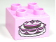 Part No: 3437pb057  Name: Duplo, Brick 2 x 2 with Cake with Fancy Icing Pattern