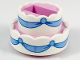 Part No: 35860pb01  Name: Cake, Double Layer with White Icing and Bright Light Blue Ribbons Pattern