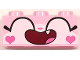 Part No: 3622pb086  Name: Brick 1 x 3 with Cat Face Wide Closed Eyes Smiling Open Mouth with One Tooth and Hearts on Cheeks Pattern