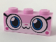 Part No: 3622pb088  Name: Brick 1 x 3 with Cat Face Wide Eyes and Small Smile Pattern