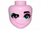 Part No: 44348  Name: Mini Doll, Head Friends with Left Eye Turquoise, Right Eye Pink, Raised Left Eyebrow, Freckles and Crooked Smile Pattern (Sweet Mayhem)