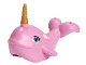 Part No: 49518c01pb01  Name: Whale with Dark Turquoise Eyes Pattern with Pearl Gold Horn (Narwhal)