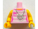 Part No: 973pb1402c01  Name: Torso White Stripes with Silver Chains and Heart Necklace Pattern / Yellow Arms / Yellow Hands