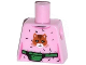 Part No: 973pb1605  Name: Torso Female Top with Cat Head, Hair and Green Money Belt Pattern