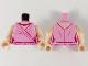 Part No: 973pb3988c01  Name: Torso Female Dress, Light Nougat Neck, Magenta and Gold Necklace, Magenta Hem and Gather Lines Pattern / Light Nougat Arms / Light Nougat Hands