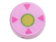Part No: 98138pb060  Name: Tile, Round 1 x 1 with Dark Pink Triangles and Lime and Bright Green Circle Pattern