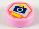 Part No: 98138pb180  Name: Tile, Round 1 x 1 with Black Camera in White Hexagon Pattern