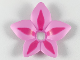 Part No: clikits142pb02  Name: Clikits Icon Accent, Plastic Flower 6 x 6 x 2/3 with Dark Pink Highlights Pattern