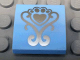 Part No: 15068pb047  Name: Slope, Curved 2 x 2 with Silver Fancy Scroll and Heart Shaped Paw Pattern