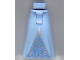 Part No: 15875c00pb021  Name: Mini Doll Friends Hips and Full Length Skirt with Silver Triangle and Silver Scrolls on Medium Blue Inset Pattern
